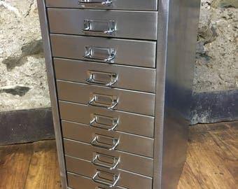 Vintage industrial stripped metal 10 drawer filing cabinet a4