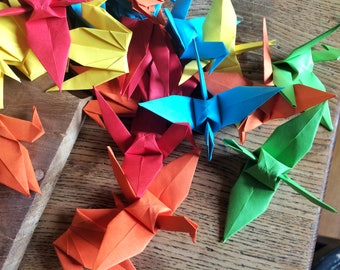 Origami  Paper Decorations 9cm X 25 Bright Colour Mix Paper Cranes  - Origami Birds - Folded Paper Birds - Wedding Decoration - Baby Shower