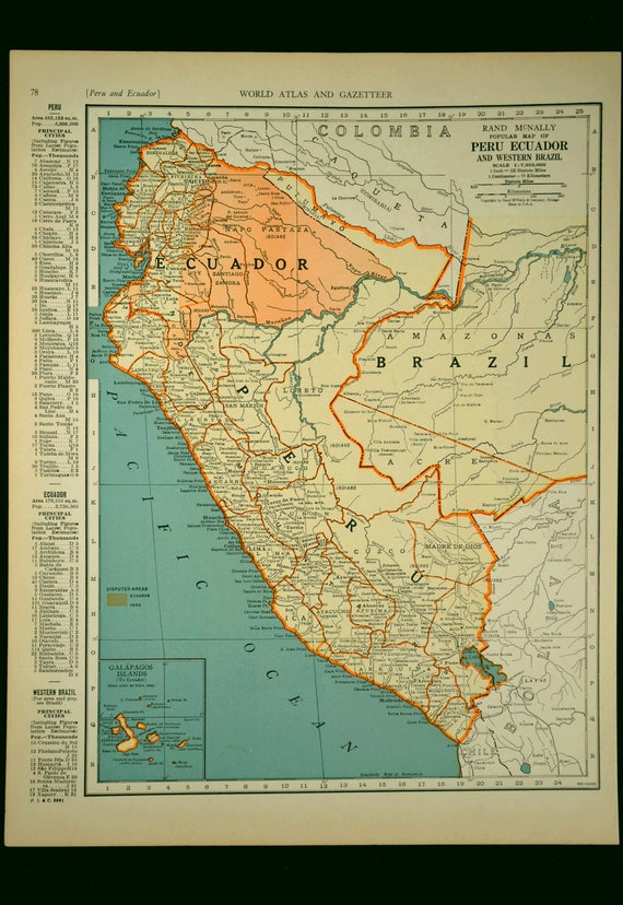 Brazil map peru map vintage ecuador 1930s original 1935 like this item gumiabroncs Gallery