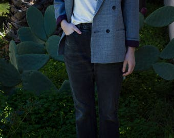 Navy and White Micro Plaid Double Breasted Blazer with Purple Lining