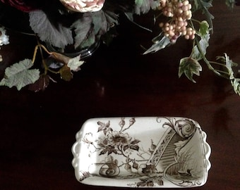 Brown transfer ware small tray in Aesthetic movement ironstone. By Ashworth Bros circe 1890 to add to your brown transferware collection