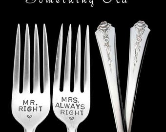 Mr and Mrs Wedding Forks, Mr Right and Mrs Always Right Stamped Fork, Something Old Engagement Gift Engraved Wedding Forks Floral SIlverware