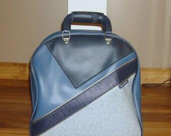 Vintage Brunswick Blue Vinyl Tweed Single Bowling Bag
