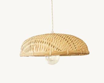 Bamboo Pendant Lamp, Woven Bamboo Pendant Light, Bamboo Basket Flat Lampshade