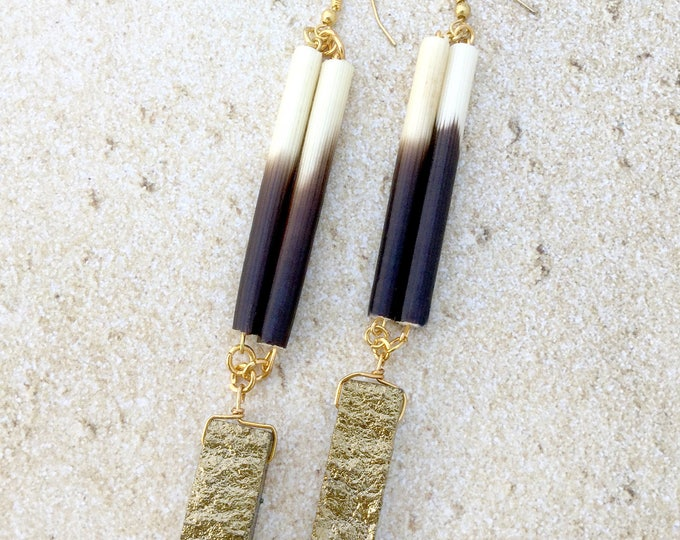 Handmade Porcupine Quill & Gold Metallic Quartz Earrings, Simple, Cute, Tribal, Sexy, Goddess, Festival, Raw, Unique (Quiet Mist Earrings)