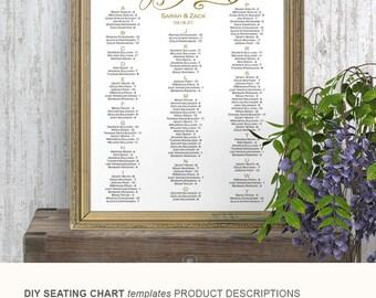 Wedding, seating chart, template, poster, alphabetical, editable text, printable, DIY wedding, 18x24, 24x36, S11