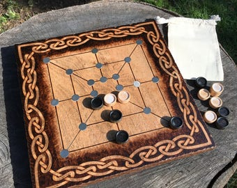"Twelve Men's Morris: Mill Game, ""Merels"", Ancient Strategy Game, Traditional Wooden Board Game, handcrafted & customizable - MADE TO ORDER"