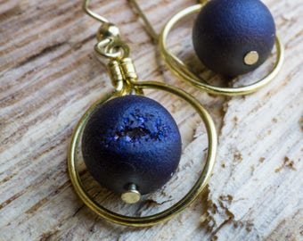Eclipse Charged Druzy Agate Blue Earrings in Gold Loops