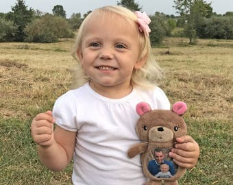 Keepsake Bear, Gift for Toddler, Personalized Memory Bear, Custom Stuffed Animal, Daddy and Daughter Gift, Teddy Bear, Grandmother Gift