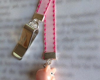 ON SALE Pig bookmark / Piglet bookmark / Cute bookmark - Attach to book cover then mark the page with the ribbon. Never lose your bookmark