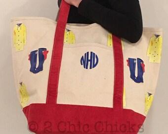 Monogram Canvas Tote Bag, Large Canvas Boat Tote, Rain Coat Rain Boot Print Tote, Personalized Canvas Boat Tote, Beach Bag, Teacher Tote