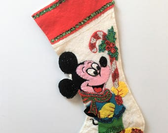 vintage Handmade felt Christmas stocking- Mickey Mouse with Candy Cane - Sequins