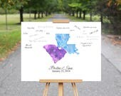 Wedding Guest Book Alternative, Wedding Guest Book Map, Wedding Guest Book Ideas, Watercolor Map Print, Personalized Guest Book Map