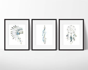 Native American Art - Dream Catcher Print - Headdress Print A4 - Dream Catcher Print - Watercolor Art Print - Instant Download PRINTABLE A4