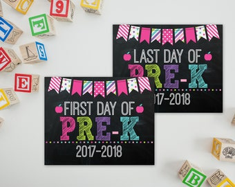 First Day Of Pre-K Sign - PreK Sign - Print Yourself 1st Day of Preschool Sign - Back to School Sign - 1st Day of School Chalkboard
