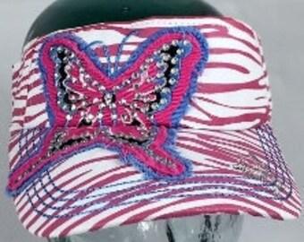 BUTTERFLY PRINT RHINESTONE Visor Butterly Pink Print Rhinestone Visor Butterfly Print Pink Bling Visor Butterfly Fabric Bling Visors Pink