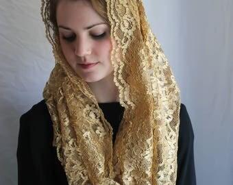 Evintage Veils~ Regina Caeli  Gold Metallic Lace Chapel Veil Mantilla Infinity Latin Mass