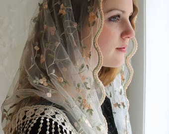 Evintage Veils~ST. Therese Little Flower Ivory Lace Mantilla Chapel Veil  Mantilla Shawl Wrap Fringe Trim