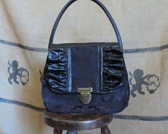 Black handbag, jacquard and fake leather, baroque, goth