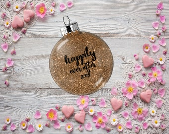 Gift for Bride and Groom, Wedding Ornament, Princess Happily Ever After Bauble, Present for Wedding Anniversary Bachelorette Party Gift