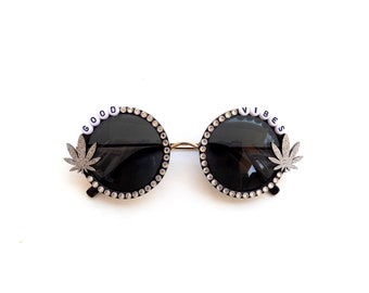 Good Vibes ~ sparkly ganja sunglasses, funky embellished sunnies with glitter pot leaf
