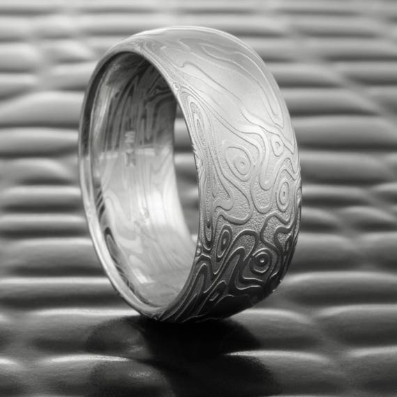 Damascus Ring Unique Wedding Band For Men With Four Pointed