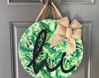 Summer Door Hanger, Palm Leaf Decor, Front Door Wreath, Tropical Door Hanger, Front Door Decor, Green Door Hanger, 80s Retro Decor