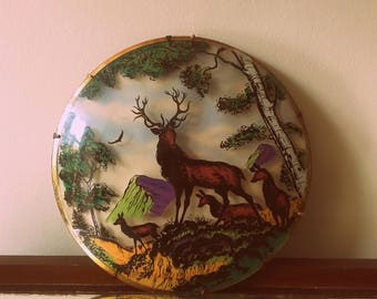 Vintage 40's 3D Convex Domed Glass Stag Deer Forest mountain scene picture