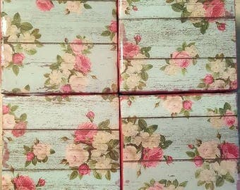 Handmade coasters Shabby Chic wood look with roses