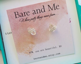 Sterling Silver Herkimer Diamond Stud Earrings Handcrafted By Bare and Me on Etsy/ Wrap Herkimer Stud/ Diamond Earring/SS Studs/Gift for Her