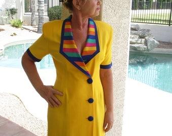 JR Petite by Joseph Ribkoff Bright Yellow with Multi color trim dress