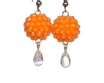 Neon Orange Earrings with Rhinestone Beads
