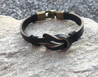Black Leather Sailor Knot Infinity Bracelet With Strong Interlocking Clasp CS-8