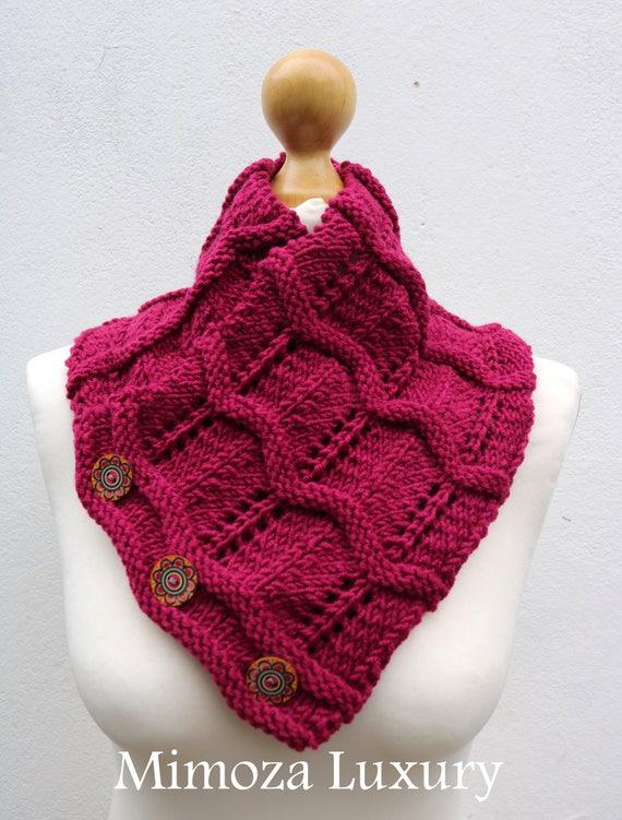 Fuchsia Merino Wool Hand Knitted Scarf, Knit scarf wrap magenta Scarf, Shawl, Wrap, Neck warmer, knit scarf, fuchsia pink women's knit scarf