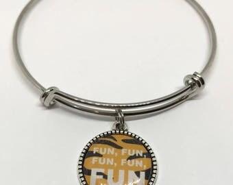 """Hundred Acre Woods Tiger Disney Fan Art Bangle Bracelet - """"Fun, Fun, Fun, Fun, Fun"""""""