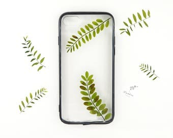 iPhone 7 / iPhone 8 plant inspired case with real pressed foliage and a black bumper