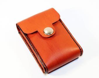 Credit Card Holder leather , Business Card Holder, Orange Leather Credit Card Wallet, Orange Card Holder. Great Gift.