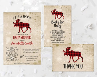 Lumberjack Baby Shower Invitation Printable It's a Boy Baby Shower Woodland Animal Baby Shower Buffalo Plaid Moose Baby Shower Red 270