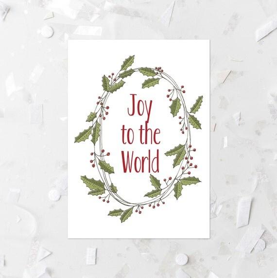 Christmas Card Wall Decor : Joy to the world printable christmas card print holly