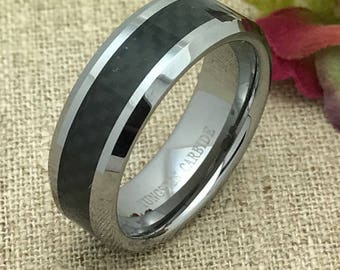 8mm Tungsten Wedding Ring. Personalized Custom Engraved Tungsten Ring , Black Carbon Fiber Inlay Tungsten Wedding Ring Band FREE ENGRAVING