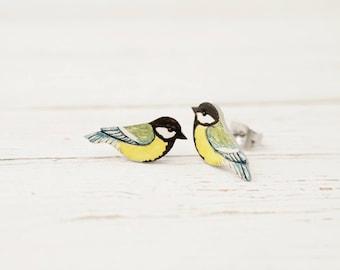 Great Tit Bird Stud Earrings Handmade Jewelry Love Birds