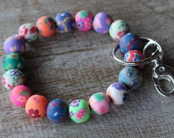 Chunky Keychain Bracelet - Bead Bracelet Keychain - Bracelet Key Chain - Key Wristlet - Bracelet for Keys - Keychain Jewelry