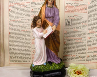 Statue Saint Anne Virgin Mary as a child Reading Old Testament Glass eyes HTF