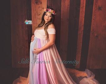 Pastel Rainbow maternity gown, rainbow baby dress, rainbow maternity dress, unicorn dress