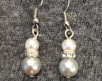 White & gray pearl rhinestone earrings