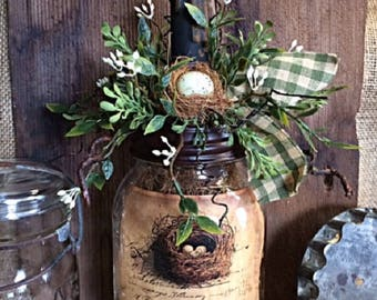 "Primitive Farm House Mason Jar Timer Candle ""Nesting"" Unique Handmade Gatherings Home Decor Item"