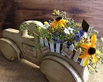 """Primitive Pickup Truck Handmade """"Gatherings Flower Farm"""" Unique Primitive Farmhouse Wooden Home Decor Item"""