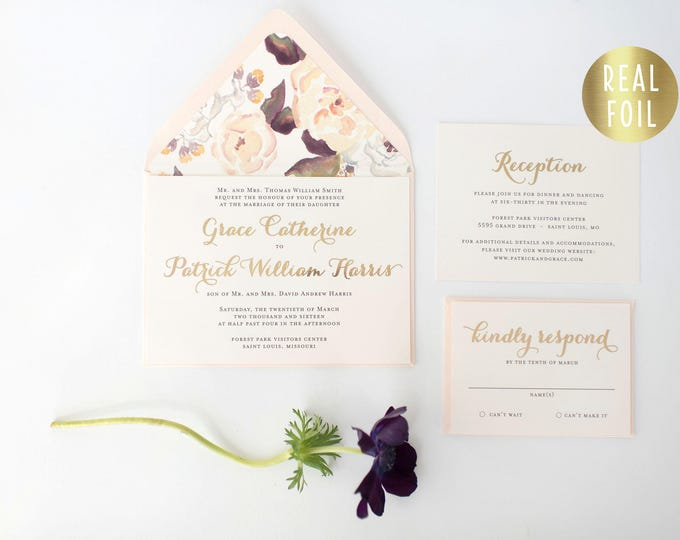 grace gold foil wedding invitation sample set  //  gold foil blush watercolor floral calligraphy romantic custom modern invite