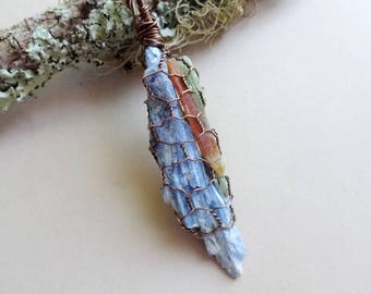Green Kyanite blade - healing crystals and stones - wrapped Kyanite pendant necklace - Healing stone Necklaces