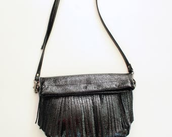 Fringy in Black Crinkle Patent Leather - foldover cross body clutch
